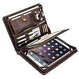 Portafolio de cuero, Carpeta de documentos con cremallera para negocios para Bloc de notas de tamaño carta, Estuche para portafolios de tableta, Cuero de vaca Crazy Horse (iPad Pro 10.5 / 11 pulgadas)