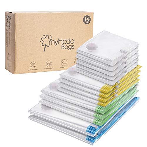 myHodo Vakuumförvaringspåsar, 14-pack olika storlekar (från stora till XXL) utrymmessparande väskor med dragkedja för kläder, sängkläder, dubbla täcken, kuddar, klänning, rockar, gardiner, filtar, komprimerade förvaringspåsar