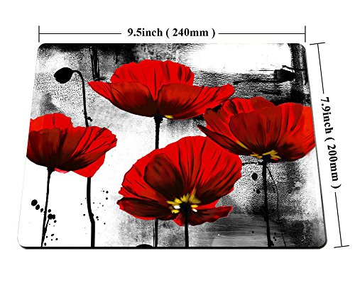 Smooffly Beautiful Vintage Poppy Flower Ink Painting Art Design Mouse Pad 9.5X7.9 inches Photo #4