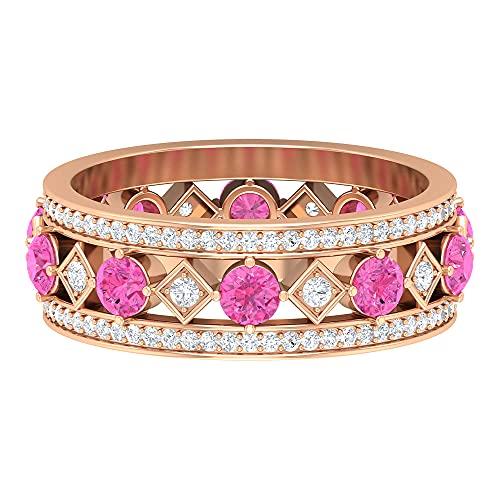 Anillo de boda único, anillo de piedra natal de marzo, 1 quilate de 3 mm de zafiro rosa creado en laboratorio, HI-SI 0, 14K Oro amarillo, Size:EU 68