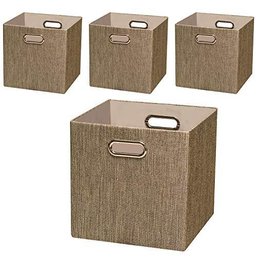 Posprica Storage Basket Bins12×12 Foldable Storage Cube Boxes Fabric Drawer for Closet Shelf Cabinet Bookcase4pcsCoffee