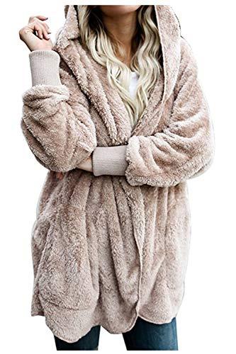 Women Hooded Cardigan Fuzzy Jacket Winter Open Front Fleece Coat Outwear with Pockets Apricot S