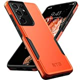 NTG [1st Generation] Designed for Samsung S21 Ultra Case(Not for S21 6.2&S21 Plus), Heavy-Duty Tough Rugged Lightweight Slim Shockproof Protective Case for Samsung Galaxy S21 Ultra 6.8 Inch, Orange/BK