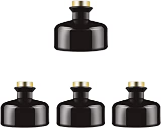 Feel Fragrance Black Glass Diffuser Bottles Diffuser Jars with Gold Caps Set of 4 – 2.75 inches High, 150ml 5.1 Ounce. Fragrance Accessories Use for DIY Replacement Reed Diffuser Sets.