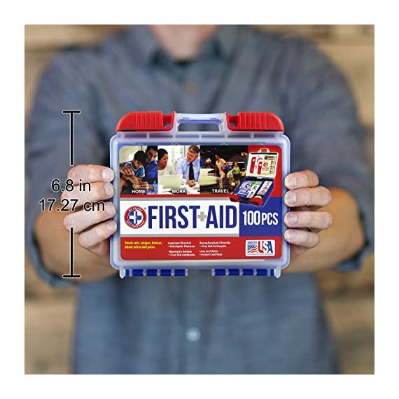 Be Smart Get Prepared 10HBC01082 100Piece First Aid Kit, Clean, Treat & Protect Most Injuries With The Kit that is great… 6 Manufactured by the #1 leading manufacturer of First Aid Kits in the USA. 100 pieces of comprehensive first aid treatment products. This Kit meets United States FDA Regulatory Standards as a Medical Device. Ideal for most businesses and perfect for family use at home or travel. Fully organized interior compartments provides quick access. The rugged, sturdy, high density plastic case is impact resistant