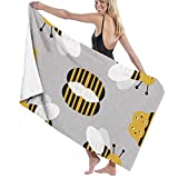 LOPEZ KENT Microfiber Sand Free Beach Towel Blanket, Absorbent Lightweight Thin Towels, Bumble Bee Hotel & SPA Bath Towel 100% Polyester, 32' X 52',White