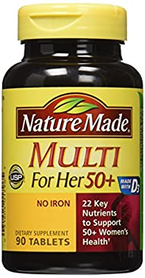 Nature Made Multi for Her 50+ Vitamin & Mineral Tabs, 90 ct (Pack of 2)