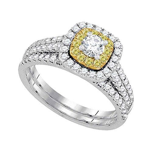Anillo de compromiso de oro blanco de 14 quilates con diamantes redondos para novia, 1,00 quilates para mujer