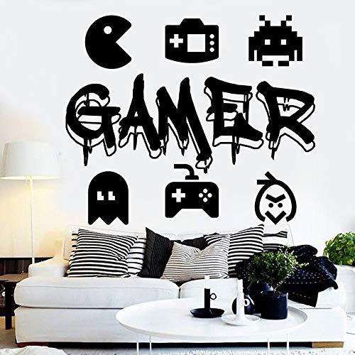 zhuziji Gamer Wall Decal Game Controller Video Game Wall Decals Personalizado para niños Dormitorio Vinilo Pared Arte Dec50.4x42cm