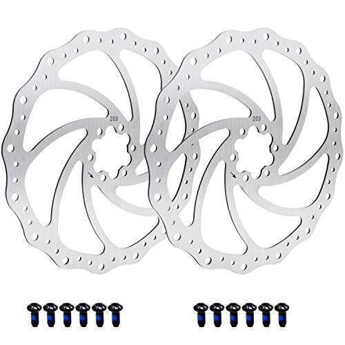 HSEAMALL 203mm Bici Freno Disco Centrale Blocco rotore con bulloni in Acciaio Inox Bicicletta rotori Misura per Bici da Strada, Mountain Bike, MTB, BMX 2 pz