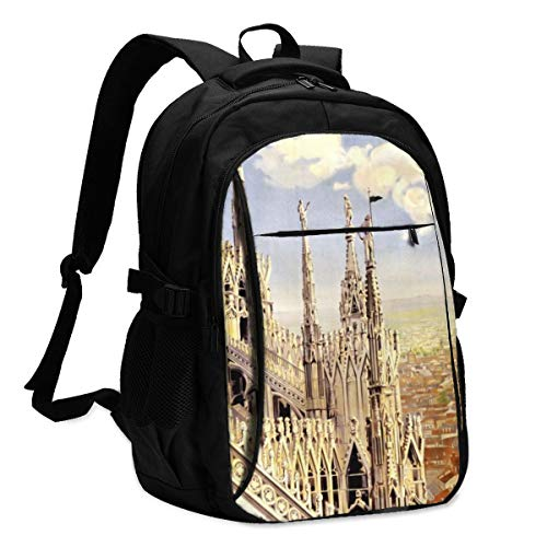 Vintage Milano Travel Poster Women's Men's Travel Business Daily Computer Backpack with USB Charging Port