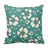 Accent Kissen Bezug für Sofa Malia Hibiskus Hawaii dekorative 45x 45cm Kissen Leinwand...