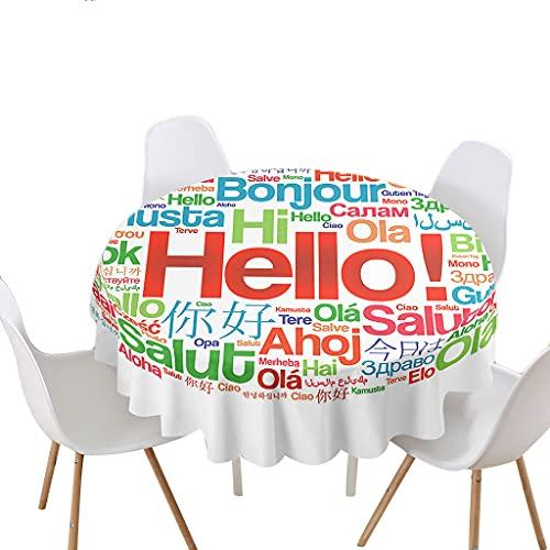 Highdi Impermeable Mantel de Redondo, Antimanchas Lavable Manteles 3D Estampado Texto de Graffiti Moderno Decoración para Salón Cocina Comedor Mesa Exterior (Pintura,Redondo 120cm)