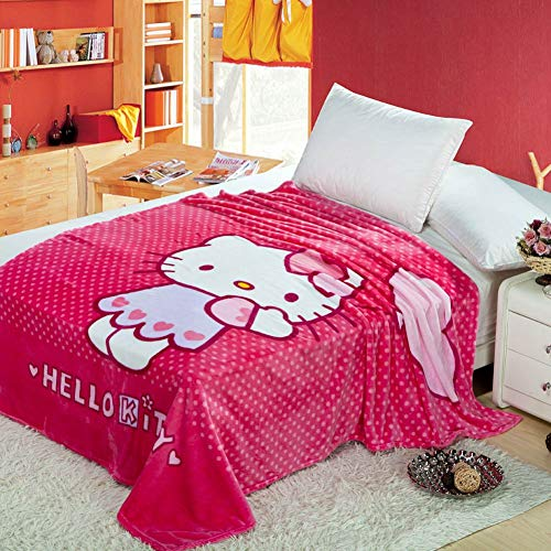Anjos Hello Kitty Pink Princess Dots Girls Kids Coral Fleece Blanket Throws Bedspread Sheet Super Soft Microfiber Polyester Print