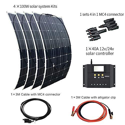 XINPUGUANG 400 w kit pannello solare flessibile monocristallino fotovoltaico 4 pz 100 w 18 v modulo 40A controller per rv barca car car caricazione (400w)