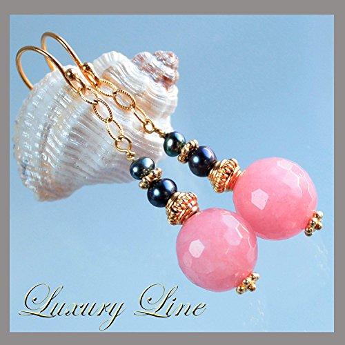 Ohrringe Süßwasserperlen rosa Jade 925 Silber vergoldet Edelsteinohrringe Perlohrringe Perlenohrringe lange Ohrhänger