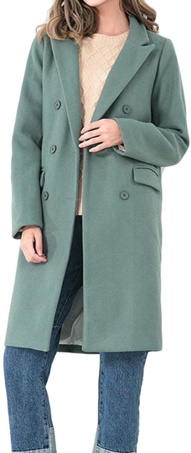 Agana Womens Lapel Woolen Double Breasted Overcoat Winter Slit Trench Coat