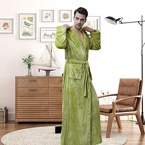 YRTHOR Albornoz cálido con Capucha, Amantes Tallas Grandes Extra LongThick Kimono Bata de baño Batas Masculinas Batas,Hombres con Capucha Verde,L
