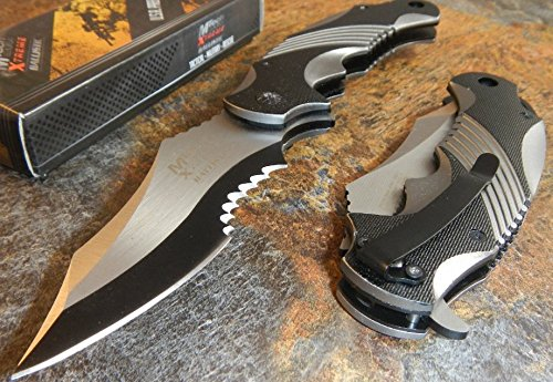 Best Pocket Knife Hot Sale MTech Xtreme Ballistic Black Grey Spring Assisted Tactical Flipper Pocket Knife