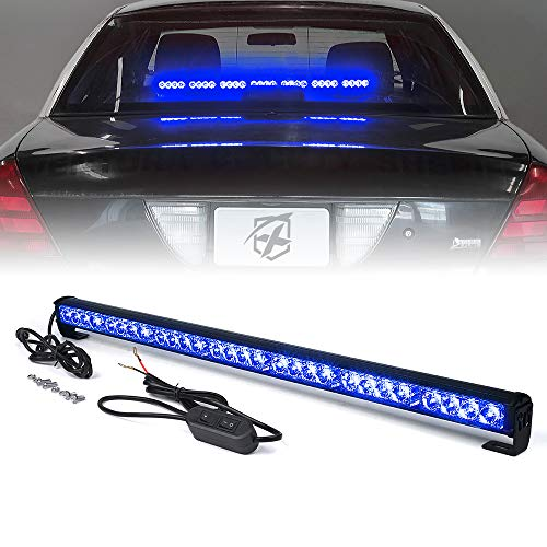 Xprite 31.5' Inch 28 LED Blue Emergency Traffic Advisor Vehicle Strobe Light Bar w/ 13 Warning Flashing Modes for Trucks Vehicles Cars