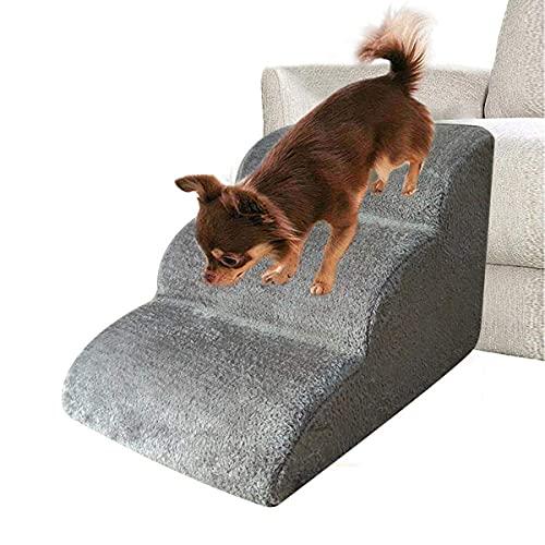 Bounabay 3 Stufen Haustiertreppe Hundetreppe Katzentreppe mit Plüschbezug Leiter Hunderampe für Kleinen Hund Teddy, Schwammleiter, 60x42x39 cm (Grau)