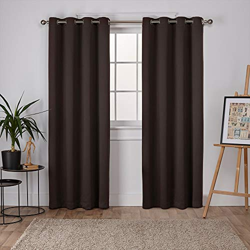 Exclusive Home Curtains Sateen Twill Woven Blackout Grommet Top Curtain Panel Pair, 52x96, Espresso, 2 Count