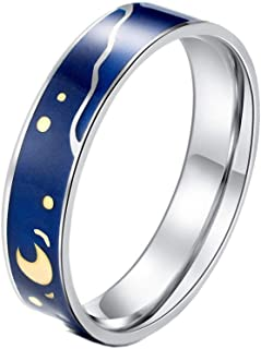 Unisex Stainless Steel Blue Band Van Gogh's Star Sky Couple Rings for Men Women Romantic Wedding Engagement Jewelry