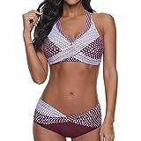 Traje de baño de Dos Piezas para Mujer de KEERADS, Bikini Acolchado con Puntos, Tallas S-3XL Rojo Vino. XL