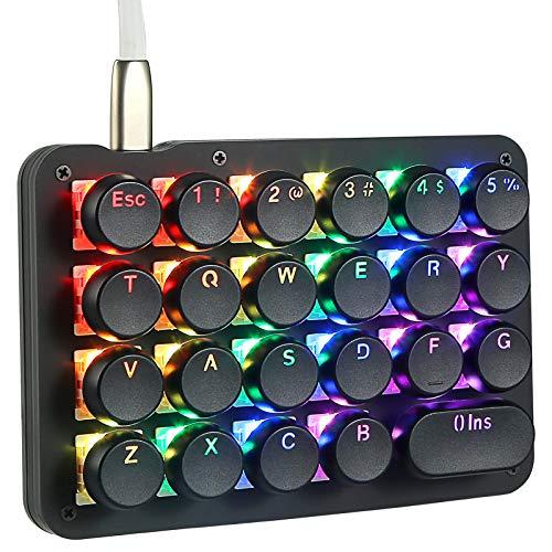 Koolertron Einhand Mini Tastatur, Mechanische Gaming Tastatur Rote switches mit 23 Voll Programmierbaren Tasten, Gaming Tastatur RGB Beleuchtung für Windows Mac Schreibkraft PC Gamer