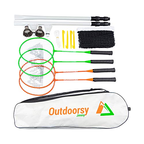 OutdoorsyJimmy Complete Badminton Sets for Backyards - Premium Set Includes Badminton Rackets Set of 4, Portable Badminton Net with Expandable Poles, 4 Birdies/Shuttlecocks & Storage Travel Bag