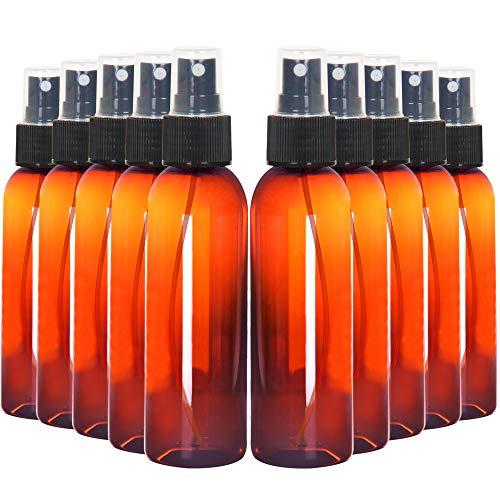 Youngever 10 Pack Amber Plastic Spray Bottles 4 Ounce, Refillable Plastic Spray Bottles with Lids, Empty Fine Mist Plastic Mini Travel Bottles