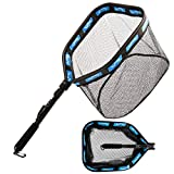PLUSINNO Floating Fishing Net for Steelhead, Salmon, Fly, Kayak, Catfish, Bass, Trout Fishing, Rubber Coated Landing Net (11.8'/30cm Hoop Size Blue(Fly Fishing net with Magnetic Release))