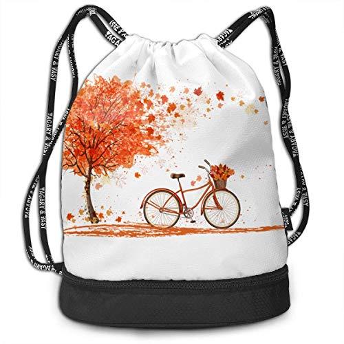 XCNGG Kordelzug Rucksack, Herbst Ahorn Blatt Bicyle Baumdruck Sport Travel Gym Bundle Rucksack Tasche