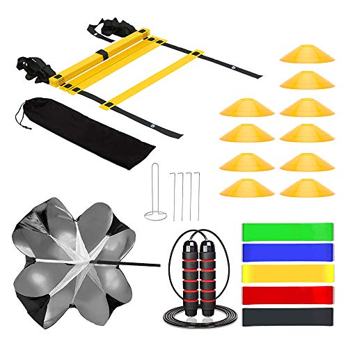 KMX Speed Cones Training & 20ft Agility Ladder Set-10 Cones with Holder, Running Parachute, Jump Rope, Resistance Bands - Football, Soccer, Basketball, Hockey Training Athletes