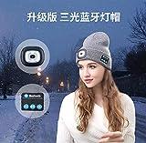 Gorro de Bluetooth Inalámbrico Música ,Sombrero Bluetooth inalámbrico, Sombrero Bluetooth con luz LED, Sombrero de Punto con iluminación para Correr y Ciclismo al Aire Libre-Gris_Talla única