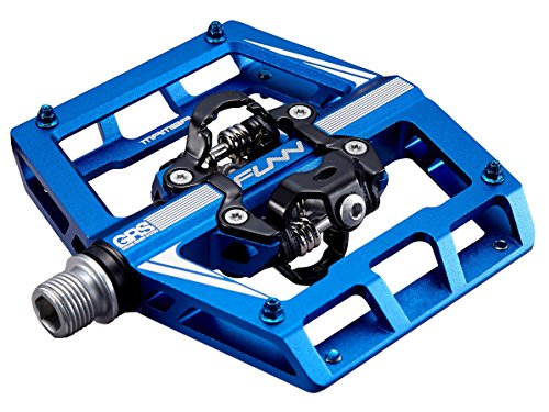 Funn Mamba Mountain Bike Clipless Pedal Set - Double Side Clip Wide Platform MTB Pedals, SPD Compatible, 9/16-inch CrMo Axle (Blue)