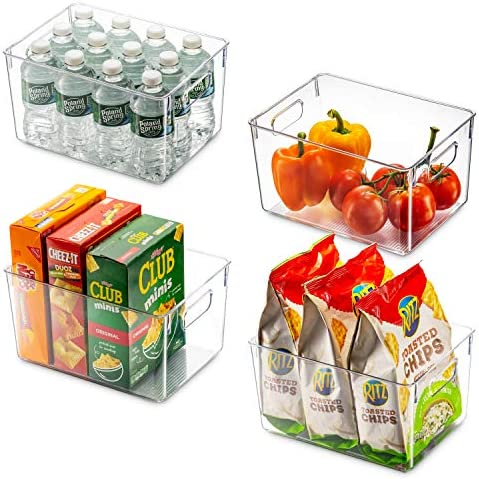 Set Of 4 Clear Pantry Organizer Bins Household Plastic Food Storage Basket with Cutout Handles product image