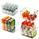 Set Of 4 Clear Pantry Organizer Bins Household Plastic Food Storage Basket with Cutout Handles for Kitchen, Countertops, Cabinets, Refrigerator, Freezer, Bedrooms, Bathrooms - 11' Wide