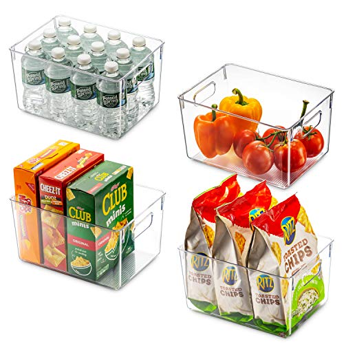 Set Of 4 Clear Pantry Organizer Bins Household Plastic Food Storage Basket with Cutout Handles for Kitchen Countertops Cabinets Refrigerator Freezer Bedrooms Bathrooms - 11 Wide