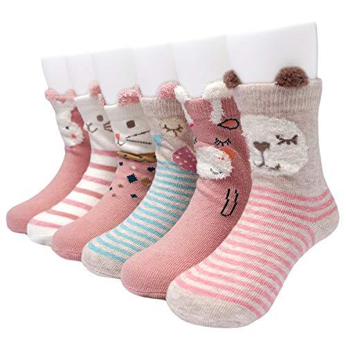 Adorel Baby Mädchen Socken Anti-Rutsch Stoppersocken 6er-Pack 1-3 Jahre