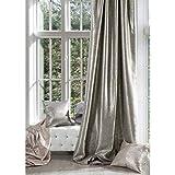 Eurofirany Cortina Opaca Beige con impresión Plateada y Fruncido, Brillante, 230 g/m², 140 x 270 cm, 1 Unidad Glamour salón Dormitorio