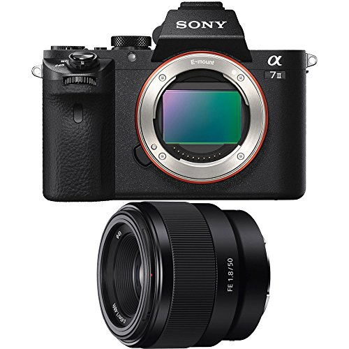 Sony Alpha a7II Mirrorless Interchangeable Lens Camera Body Bundle with Sony FE 50mm F1.8 Full-Frame E-Mount Lens