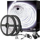 Onforu 65.6ft LED Strip Light Bright White, 6000K Dimmable Daylight White Tape Light, 20m 1200 LEDs 2835 Flexible Ribbon Light, 12V Adhesive Rope Lights for Kitchen, Under Cabinet, Bedroom, Wardrobe
