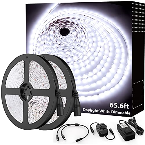 Onforu 65.6ft LED Strip Light, 6000K Daylight White Dimmable Tape Light, 20m 12v Flexible Ribbon Light, 2835 LEDs Rope Lighting for Home, Kitchen, Under Cabinet, Bedroom, Non-Waterproof