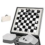 LINWEI Conjunto de ajedrez, Portátil Portátil International Chess Board Set 29x29cm Juegos de Mesa educativa 2 Cajas de plástico Transparentes Almacenamiento para Actividades Familiares de Fiesta