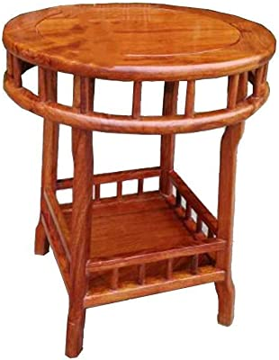 Solid Wood Small Round Table Corner Table Coffee Table Side Table Flower Stand Tea Water Rack Telephone Table