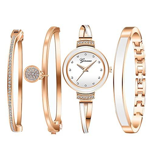 Clastyle Conjunto Reloj y Pulsera Mujer Elegant Relojes Oro Rosa Diamante con 3 Brazaletes Relojes de Pulsera para Mujer Cerámica