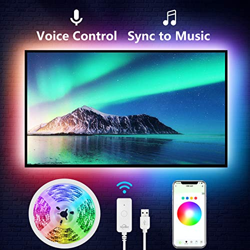 NiteBird 9.2Ft Smart TV LED Backlight, Strip Lights Works with Alexa Google Home Siri, 24-60 in TV WiFi APP Control 16 Million Colors RGB Light Strip for PC Desk,Waterproof,Music Sync,USB Powered