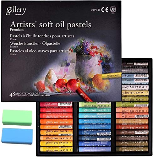 [Mungyo Gallery] Non Toxic Soft Oil Pastels Set of 48 Assorted Colors, Bundle with Rubber Pastel Erasers for Artist and Professional
