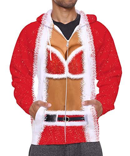 Leapparel Herren Damen 3D Hoodie Full Zip Print Graphic Sweatshirts Pullover Casual Pocket Jacket - - Mittel